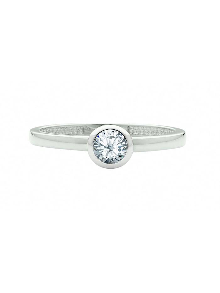 1001 Diamonds 1001 Diamonds Damen Silberschmuck 925 Silber Ring mit Zirkonia Ø 7,1 mm, silber