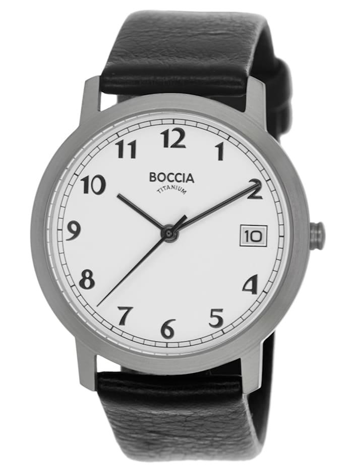 Boccia Titan-Damenuhr mit Lederband, Weiß
