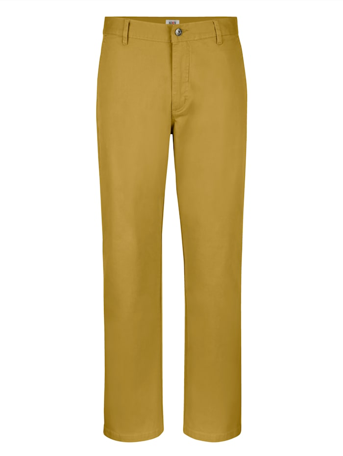 Roger Kent Pantalon sans pinces à part de stretch, Ocre