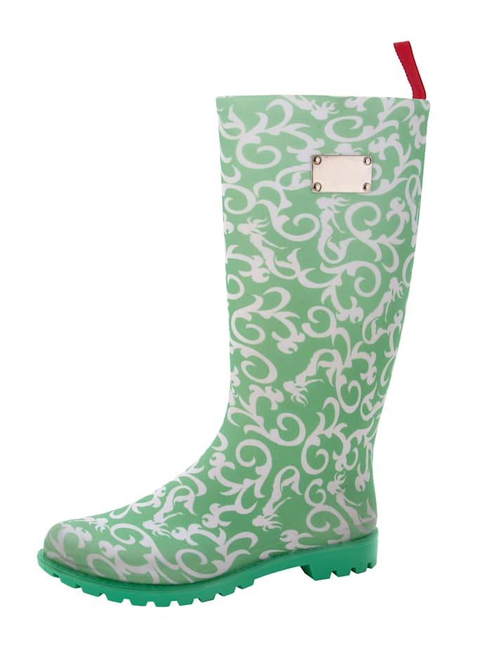 Gosch Regenlaars met mooie ornamentprint, Groen