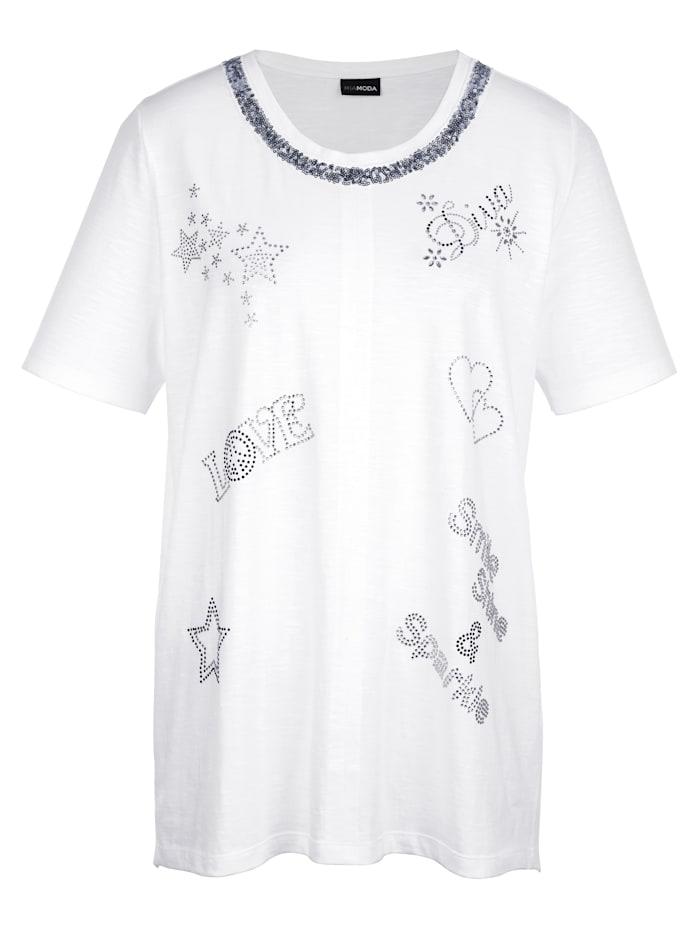 Shirt im Vorderteil mit funklenden Schmucksteinen besetzt