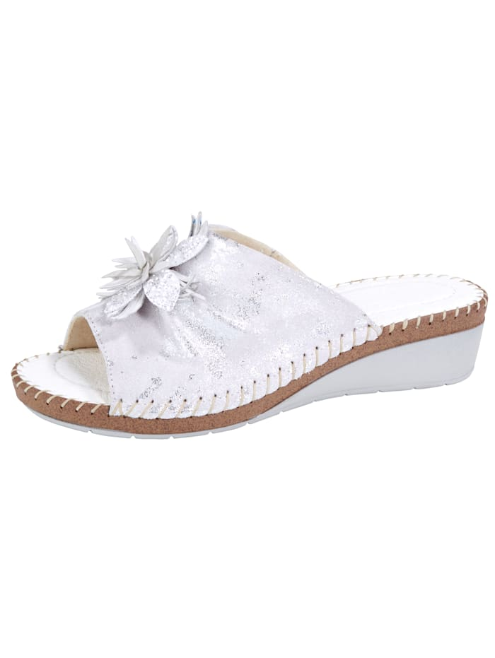 Relaxshoe Mules with beautiful flower embellishment, White