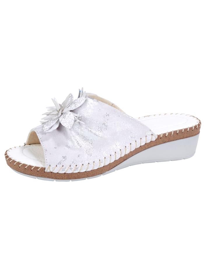 Relaxshoe Pantolette mit schöner Zierblüte, Weiß