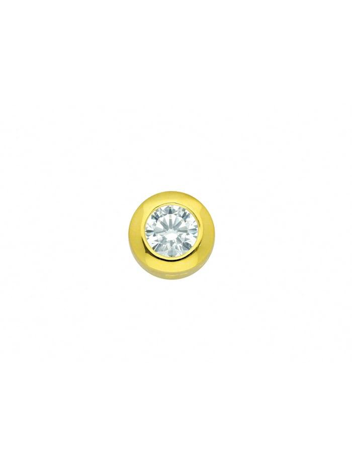 1001 Diamonds Damen Silberschmuck 925 Silber Anhänger mit Zirkonia Ø 8 mm, vergoldet