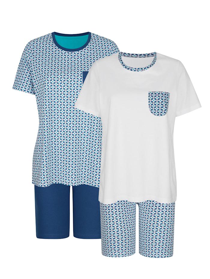 Blue Moon Shortys im 2er-Pack mit hübschen Kontrastverarbeitungen, Marineblau/Weiß