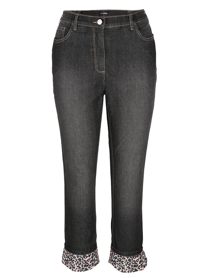 Jeans met omslag met animaldessin