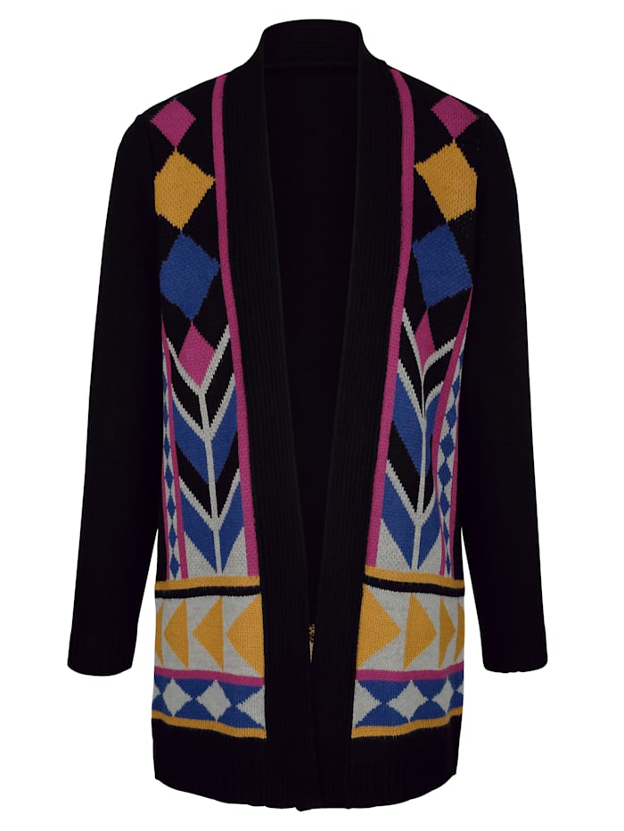 Lang strikkejakke med flott mønster