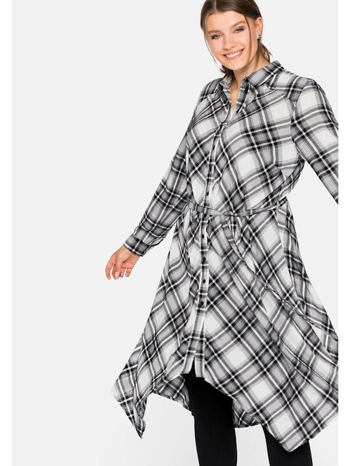 Sheego Sheego Hemdblusenkleid in figurumspielender Zipfelform, schwarz-offwhite