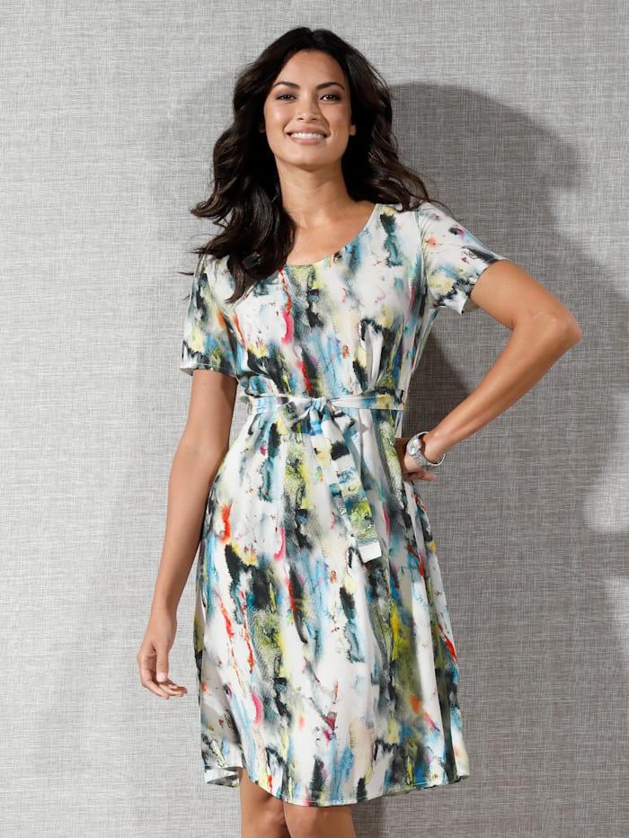AMY VERMONT Kleid mit Farbverlauf allover, Off-white/Limettengrün/Pink