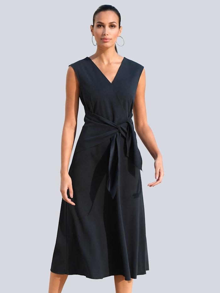 Alba Moda Kleid mit Bindedetail zum Knoten in der Taille, Marineblau