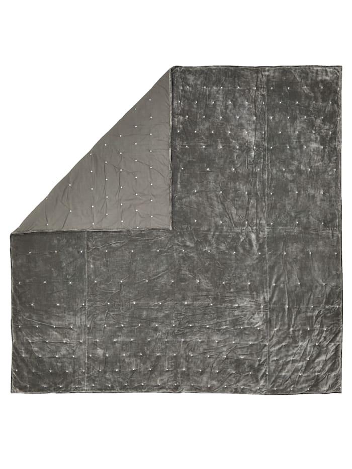 Bettüberwurf aus Samt, grau