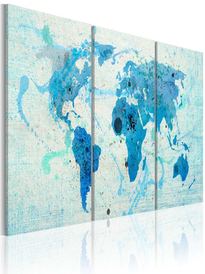 artgeist Wandbild Kontinente wie Ozeane, Blau,Himmelblau,Türkis