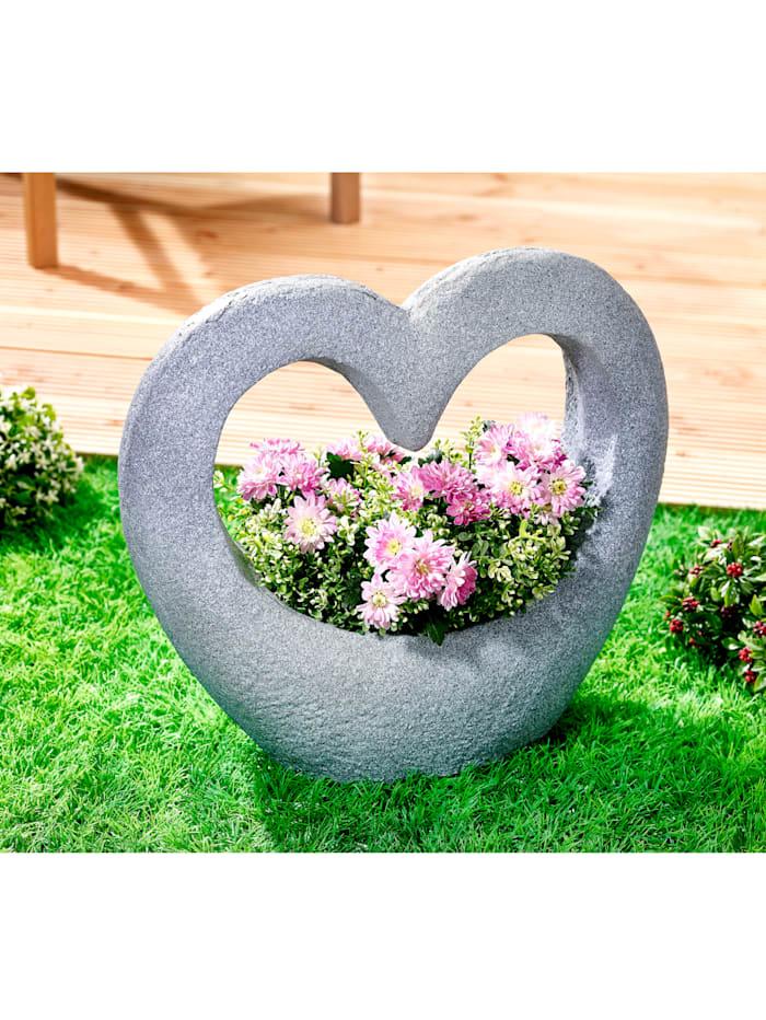 TRI Pflanzenschale Herz, Grau