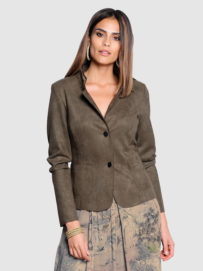 Alba Moda Blazer in Veloursleder-Optik, Taupe