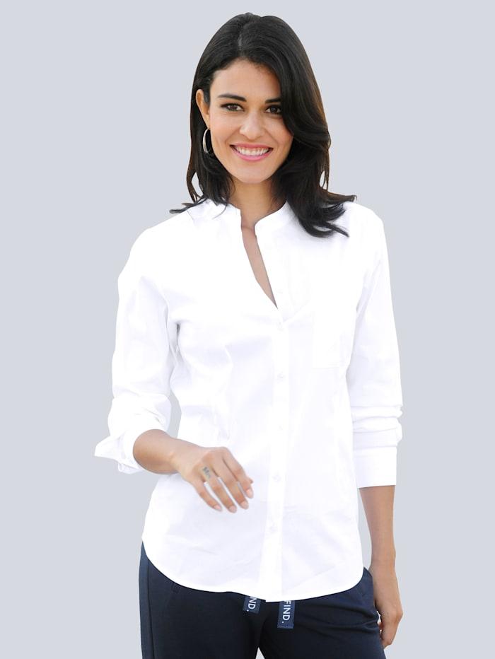 Alba Moda Bluse mit Brusttasche, Weiß