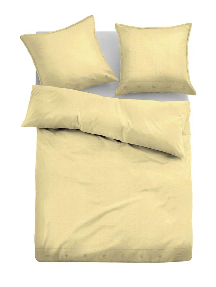 Tom Tailor Leinen Bettwäsche 'Natural Colors' mit Zusatzkissen, Zitronengelb