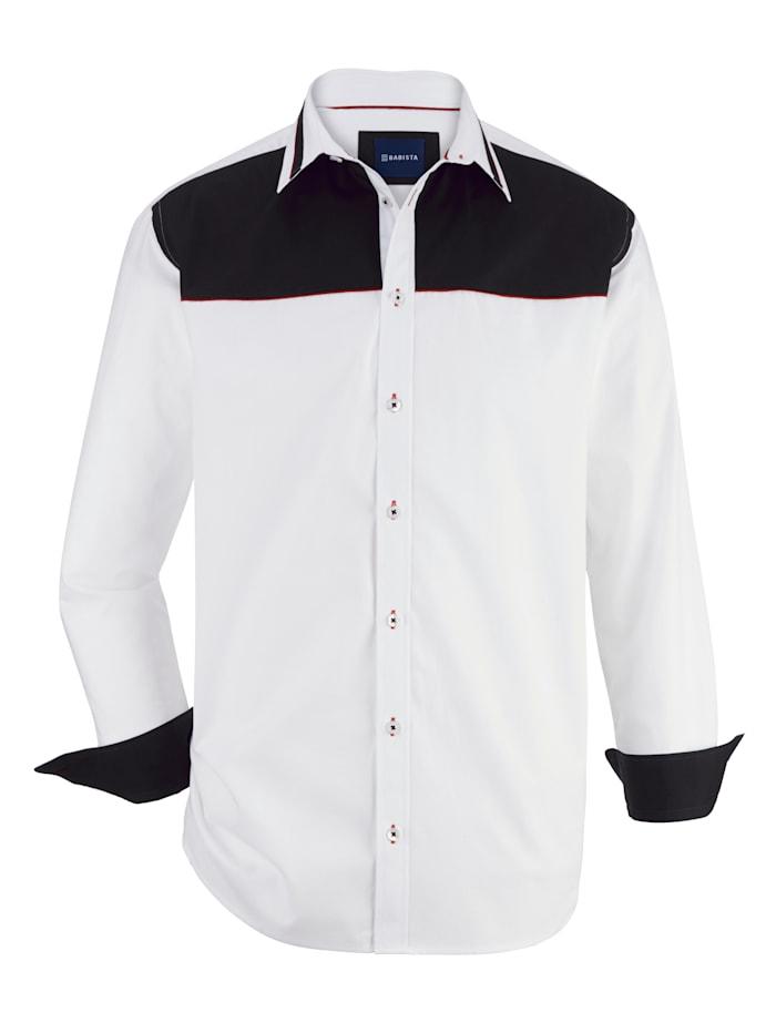 BABISTA Hemd mit kontrastfarbenem Webbesatz, Weiß/Schwarz