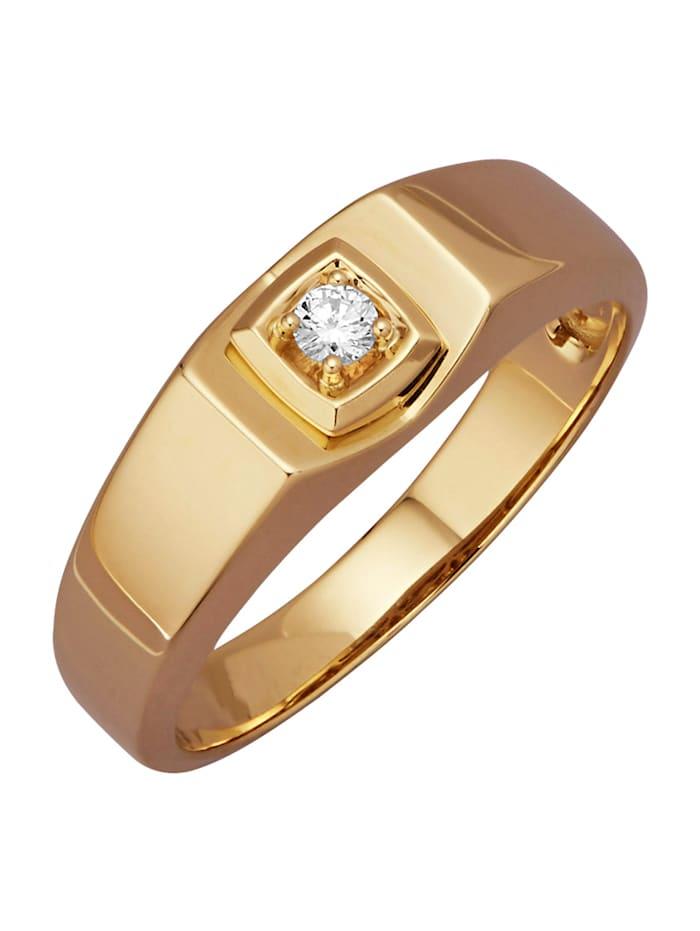 Diemer Gold Herenring met diamant, Geelgoudkleur