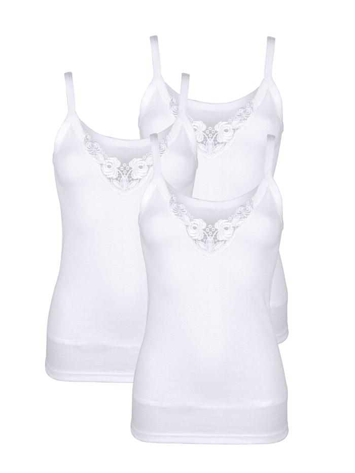 Harmony Hemdjes met glanzend kant, Wit