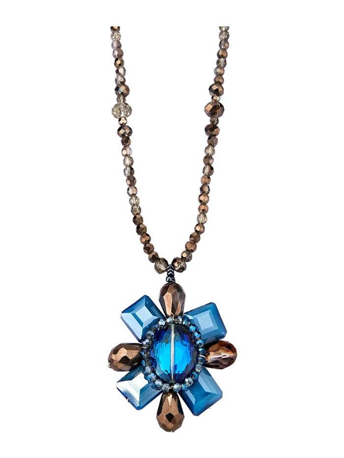 Collier avec pierre de verre, Bleu