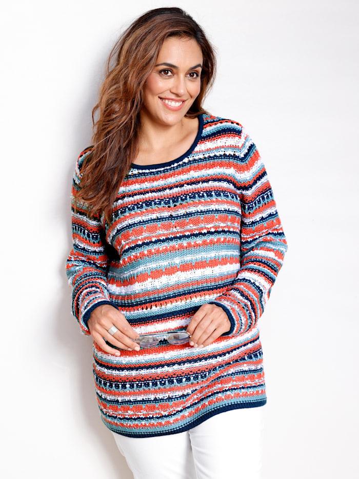 MIAMODA Pullover mit Effektgarn, Koralle/Blau/Weiß