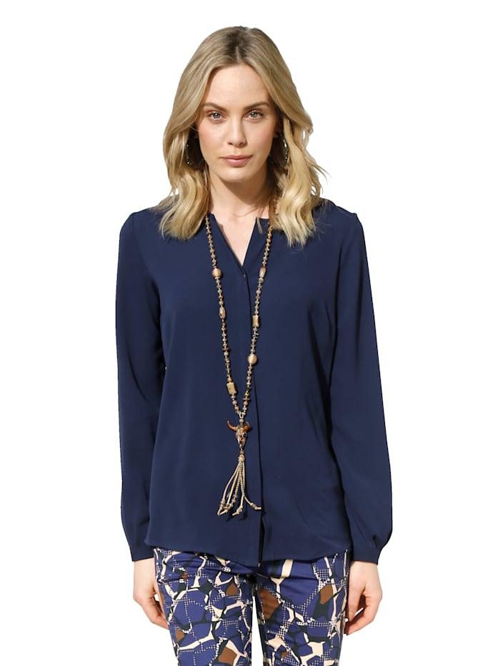 AMY VERMONT Bluse mit V-Ausschnitt, Marineblau