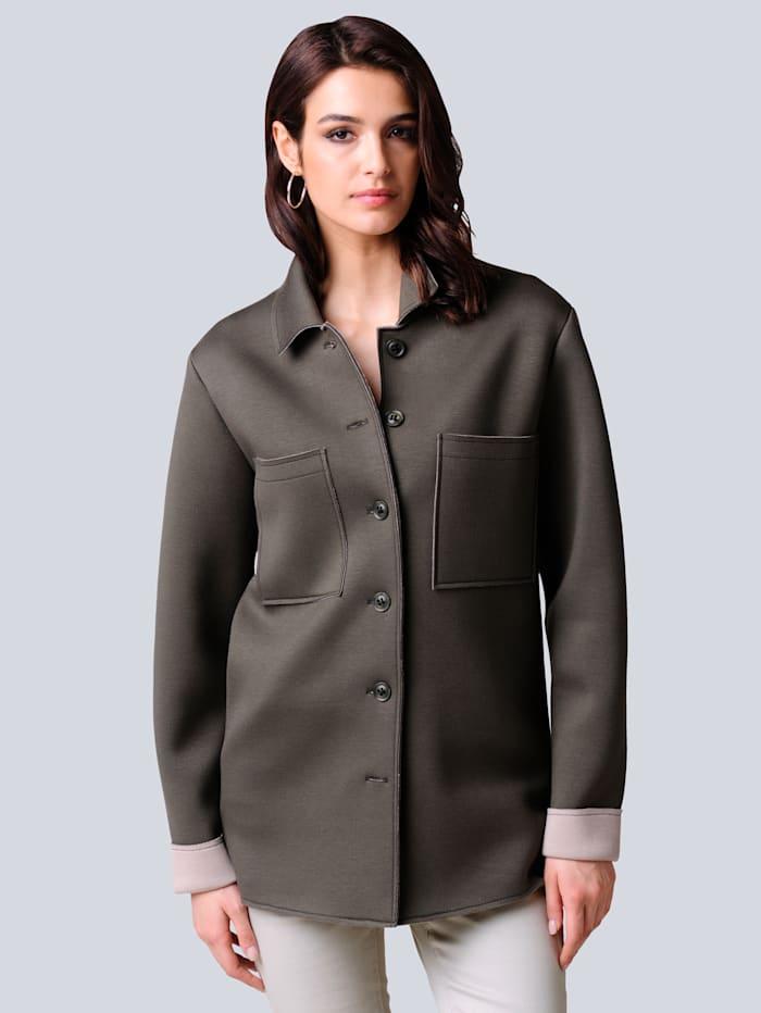 Alba Moda Jacke in modischer Shacketform, Khaki/Beige