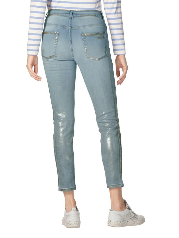 Jeans met folieprint en destroyed effect