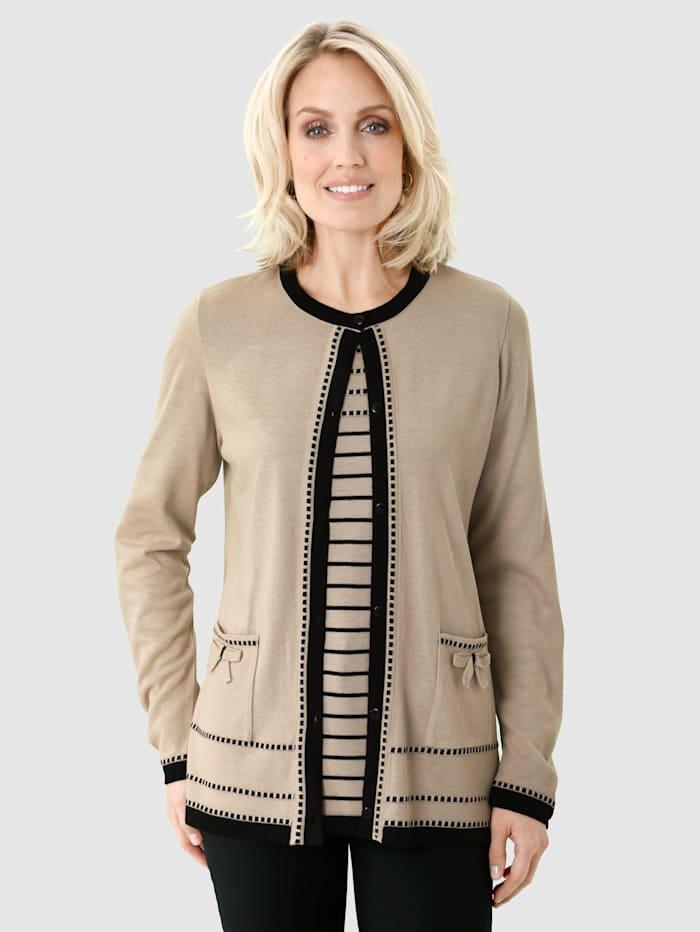Paola Kofta & tröja med kontrasterande detaljer, Natur/Svart
