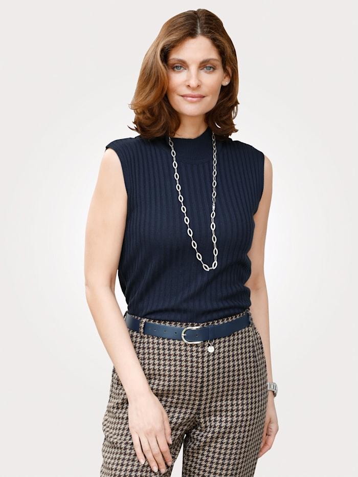 MONA Pullover mit Rippenstruktur, Marineblau