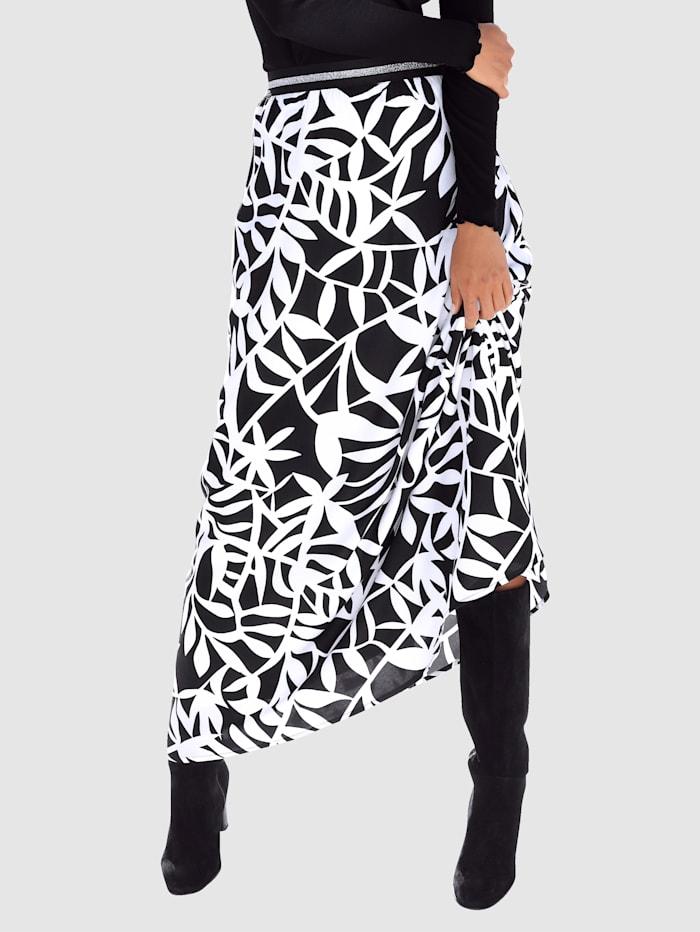AMY VERMONT Rock mit floralem Muster, Schwarz/Weiß