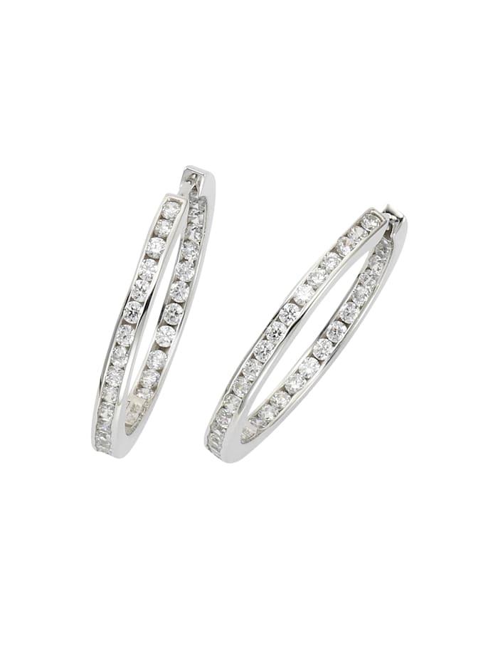 Celesta Klappcreolen 925/- Sterling Silber Zirkonia weiß 3,2cm Glänzend 925/- Sterling Silber, weiß