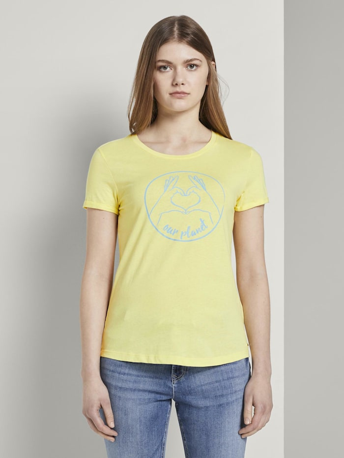 Tom Tailor Denim Love-Print T-Shirt mit Bio-Baumwolle, daffodil yellow