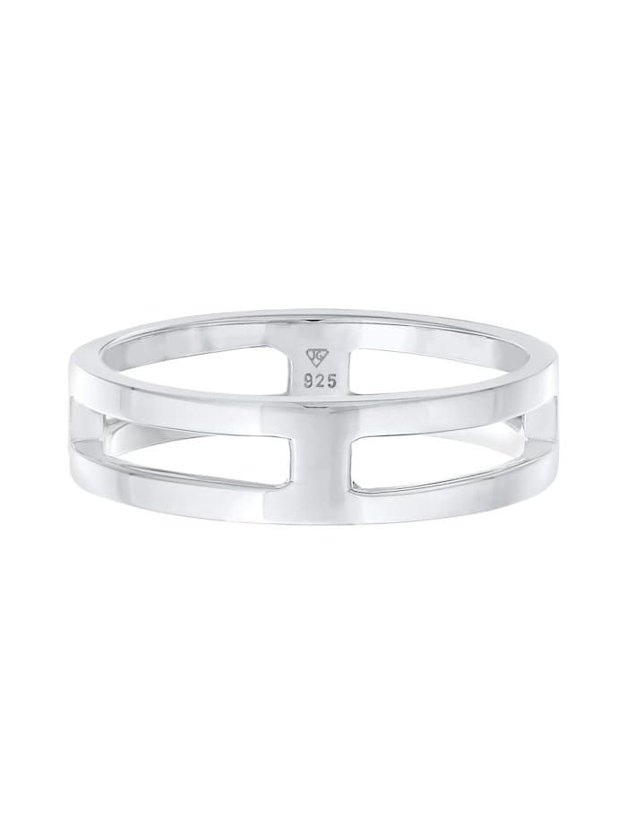 Ring Herren Bandring Steg Massiv 925 Silber