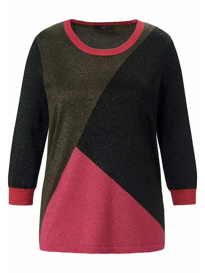 Emilia Lay Rundhalspullover mit 3/4-Arm, schwarz/multicolor