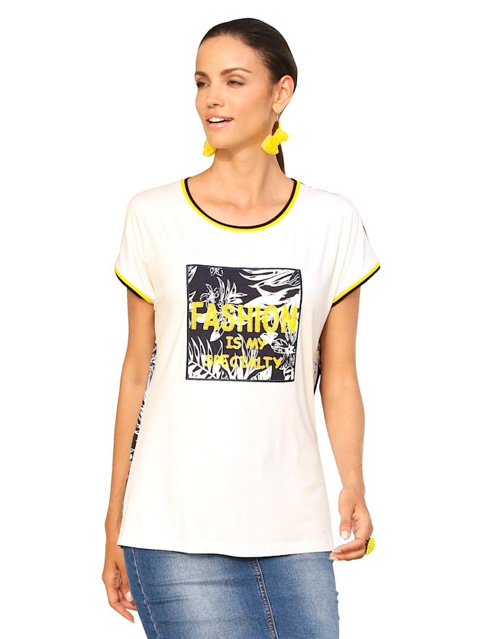 AMY VERMONT Shirt met pailletten voor, Offwhite/Marine/Geel
