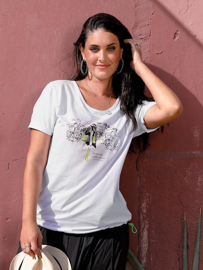 MIAMODA Shirt mit praktischem Tunnelzug am Saum, Weiß