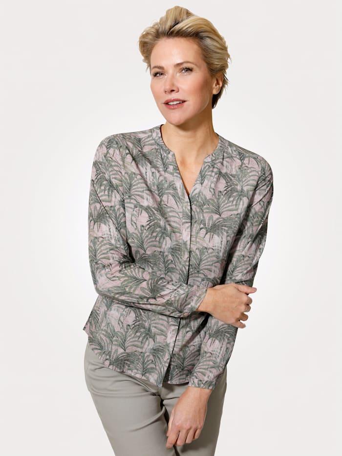MONA Bluse mit exotischem Blätter-Druck, Rosé/Grün