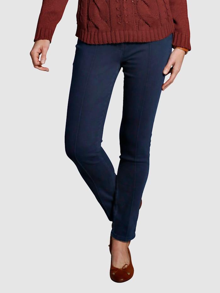MONA Jeans med sydda pressveck fram, Mörkblå