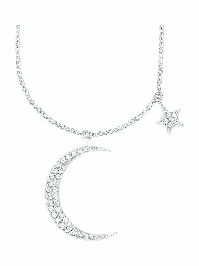 amor Kette mit Anhänger für Damen, Sterling Silber 925, Zirkonia Mond/Sterne, Silber