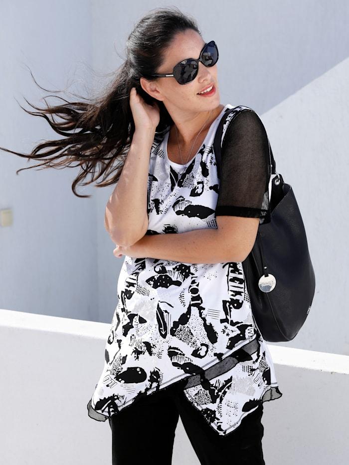 MIAMODA T-shirt à imprimé mode, Noir/Blanc