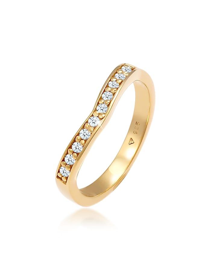 DIAMORE Ring Diamanten (0.15 Ct) V-Form Verlobung 925 Silber, Gold