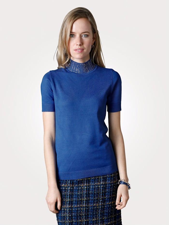 MONA Pullover dekoriertem Stehkragen, Royalblau
