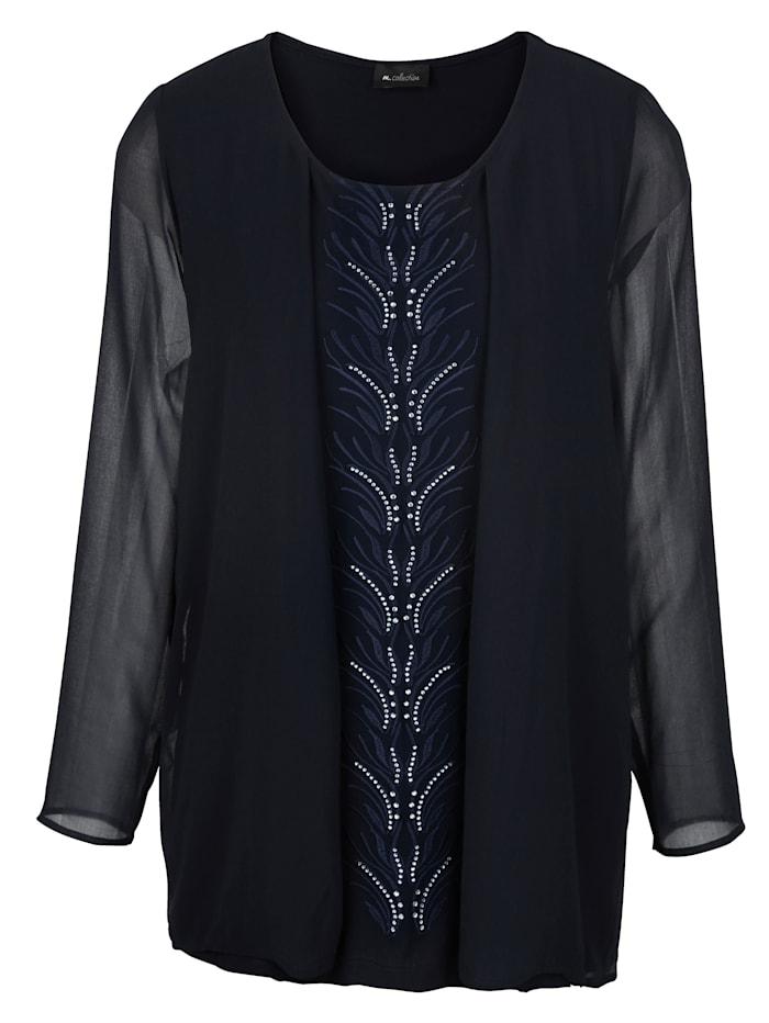 2-in-1 Shirt durch Chiffonjacke und integriertes Top