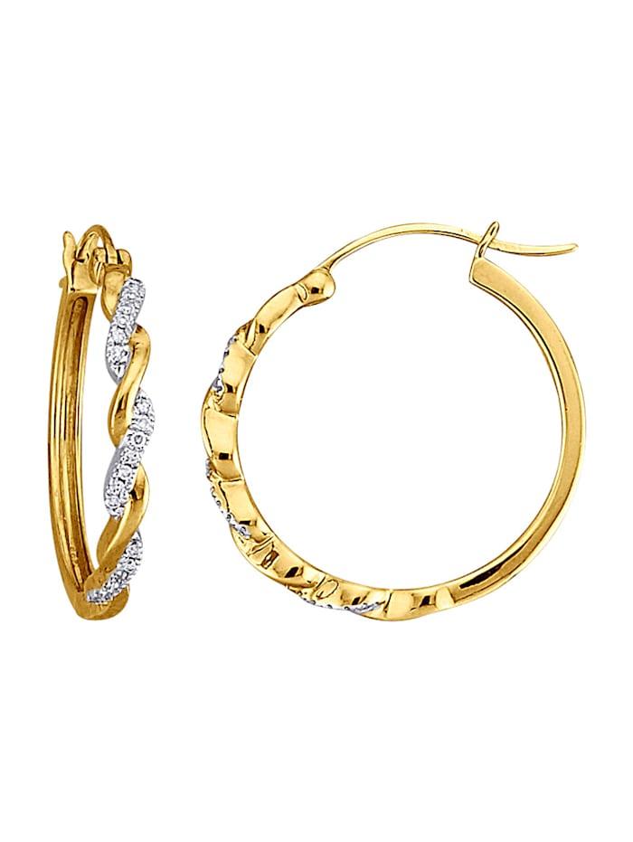Amara Diamant Creolen mit Diamanten, Gelbgoldfarben