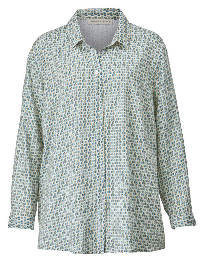 Hemdbluse mit grafischem Muster allover