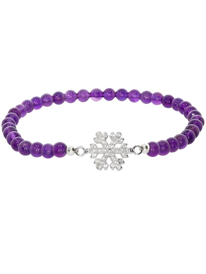 1001 Diamonds Schneeflocke Amethyst Armband 925 Silber 17 cm, violett