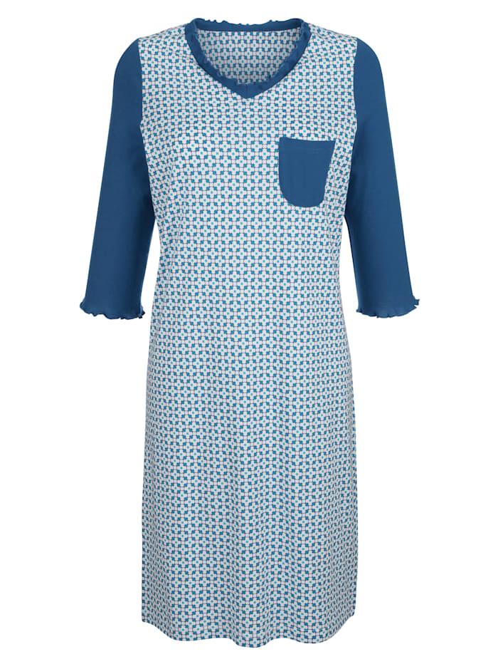 Blue Moon Nachthemd mit Wellensaumabschlüssen an den Ärmeln, Royalblau/Weiß
