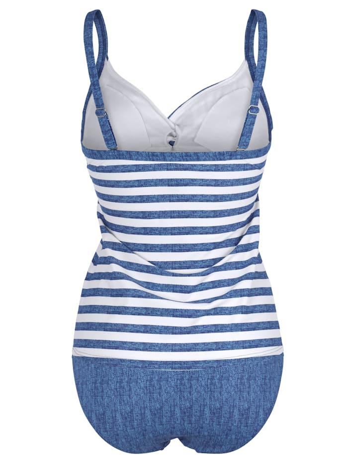 Tankini Jeansblauw en wit gestreept