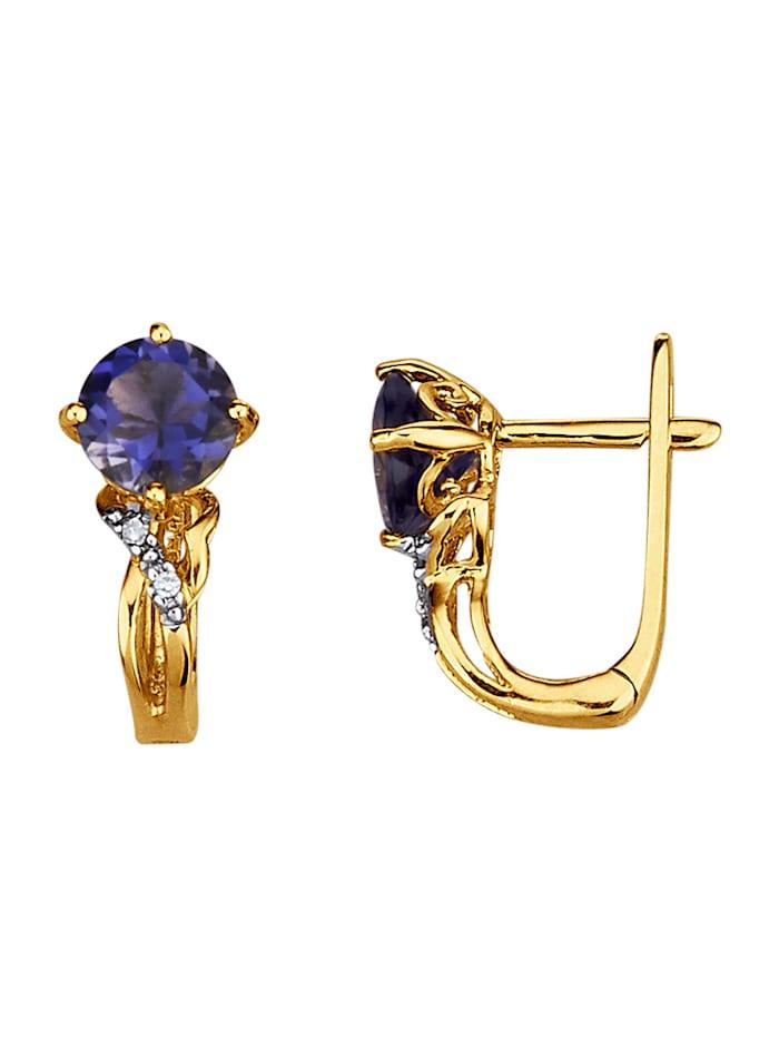 Oorbellen Met iolieten en diamanten, Blauw